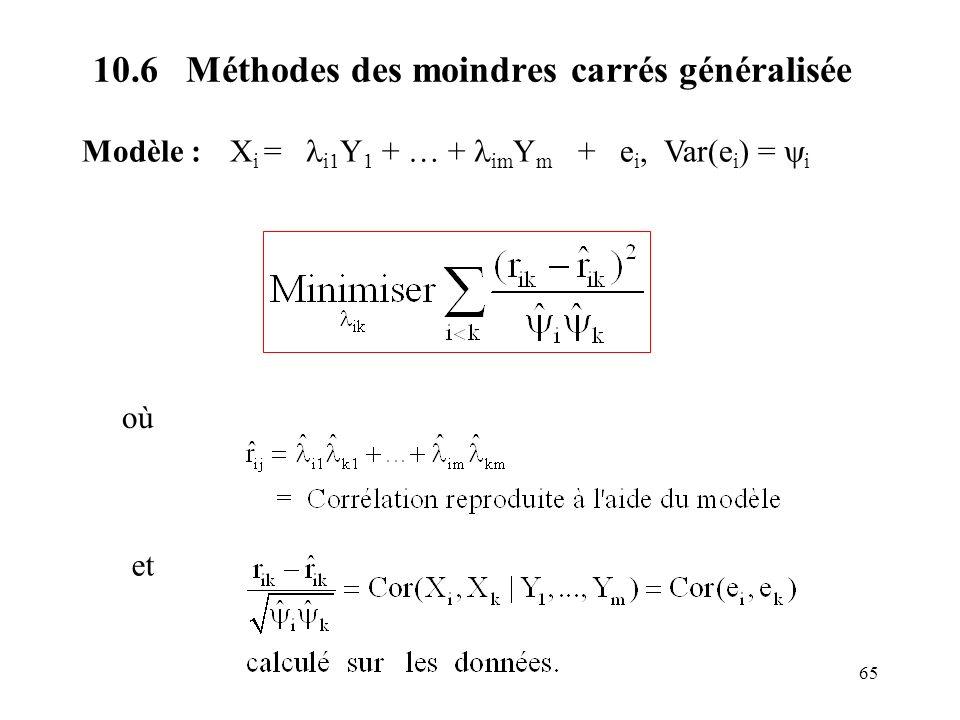 65 10.6 Méthodes des moindres carrés généralisée Modèle : X i = i1 Y 1 + … + im Y m + e i, Var(e i ) = i où et