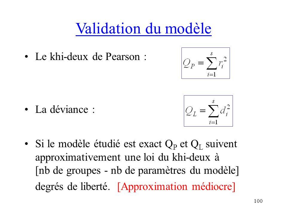 100 Validation du modèle Le khi-deux de Pearson : La déviance : Si le modèle étudié est exact Q P et Q L suivent approximativement une loi du khi-deux