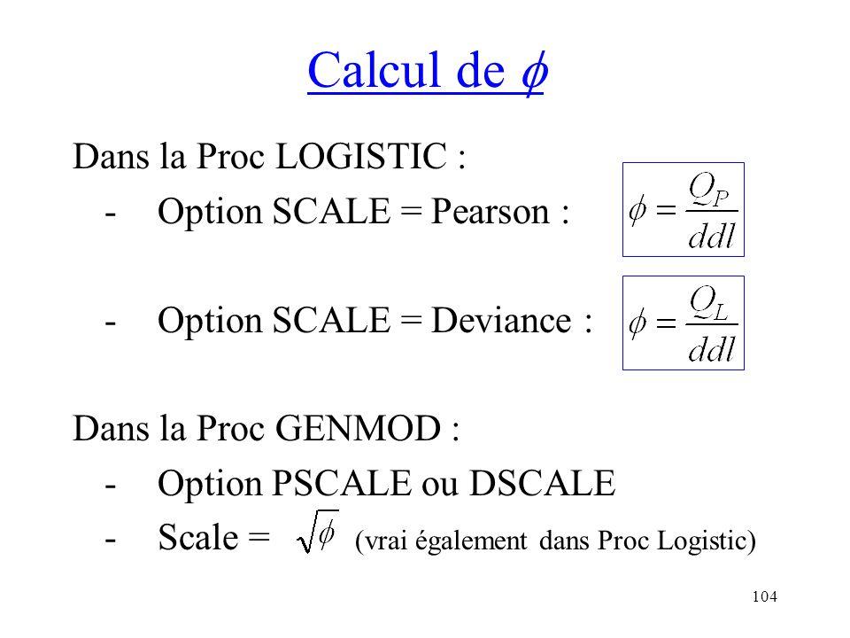 104 Calcul de Dans la Proc LOGISTIC : -Option SCALE = Pearson : -Option SCALE = Deviance : Dans la Proc GENMOD : -Option PSCALE ou DSCALE -Scale = (vr