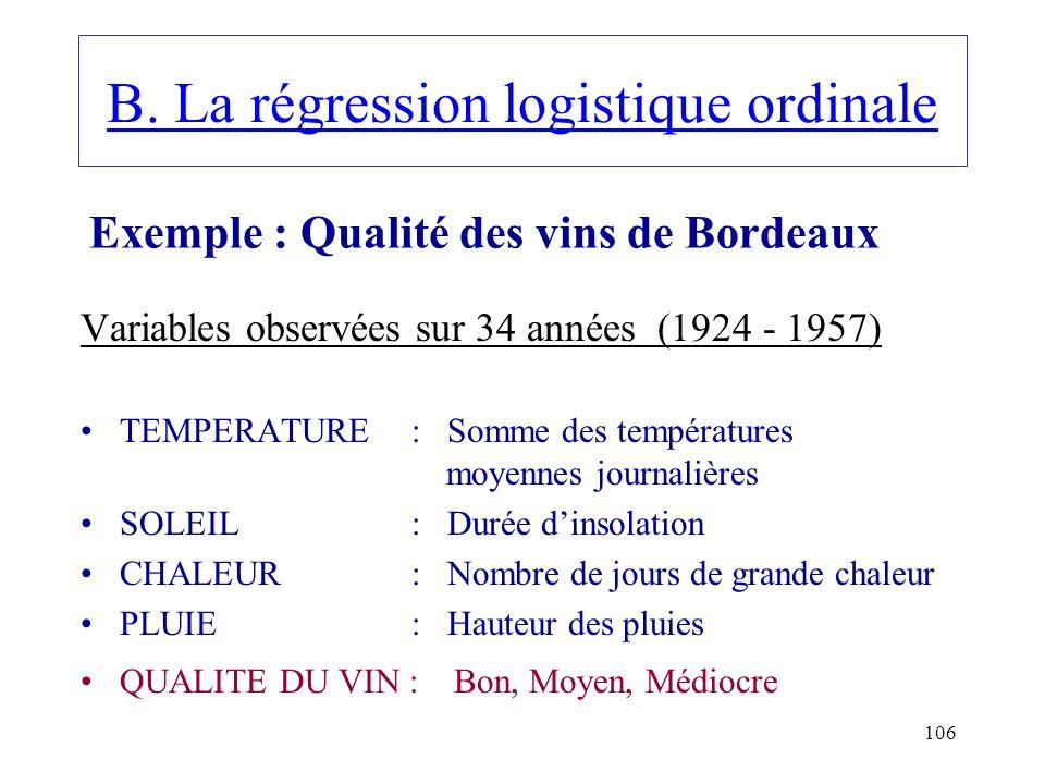 106 B. La régression logistique ordinale Variables observées sur 34 années (1924 - 1957) TEMPERATURE : Somme des températures moyennes journalières SO