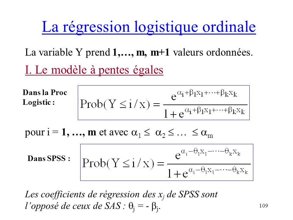 109 La régression logistique ordinale La variable Y prend 1,…, m, m+1 valeurs ordonnées. I. Le modèle à pentes égales pour i = 1, …, m et avec 1 2 … m