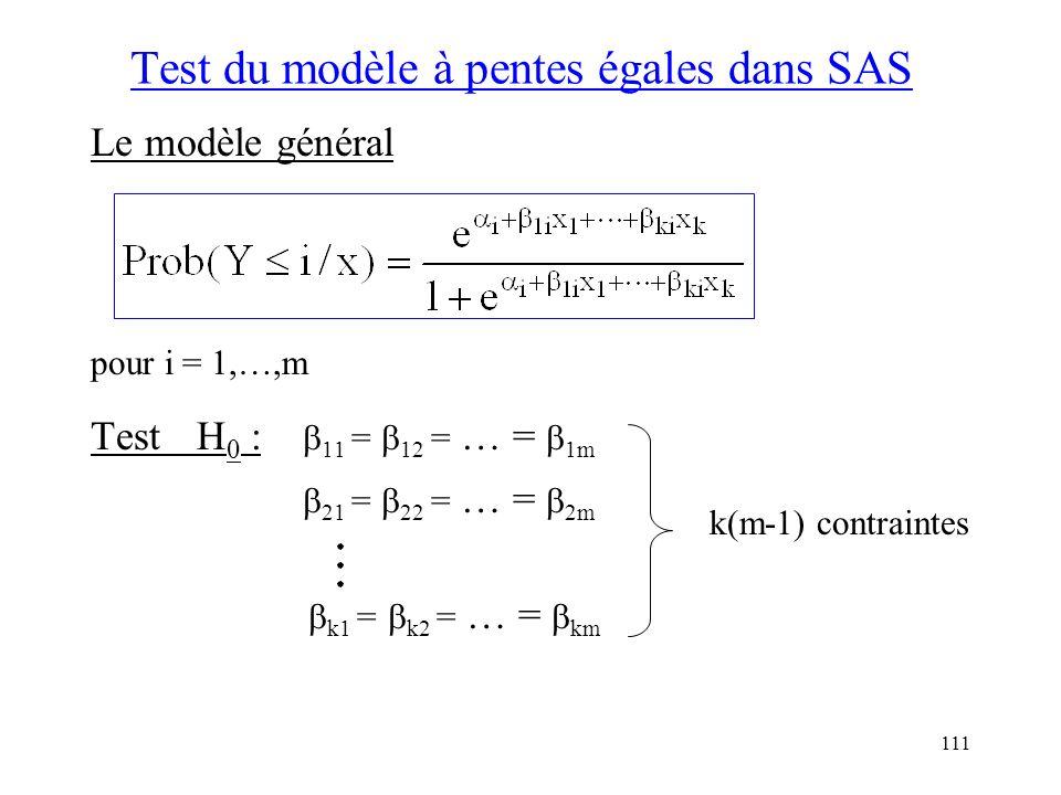111 Test du modèle à pentes égales dans SAS Le modèle général pour i = 1,…,m TestH 0 : 11 = 12 = … = 1m 21 = 22 = … = 2m k1 = k2 = … = km k(m-1) contr
