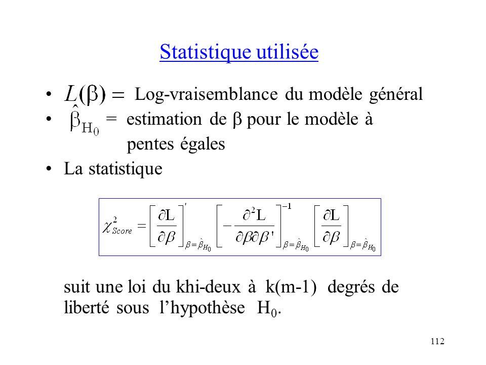 112 Statistique utilisée Log-vraisemblance du modèle général = estimation de pour le modèle à pentes égales La statistique suit une loi du khi-deux à