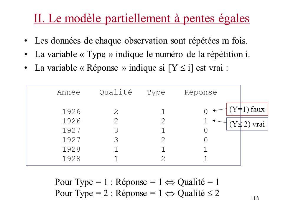 118 II. Le modèle partiellement à pentes égales Les données de chaque observation sont répétées m fois. La variable « Type » indique le numéro de la r