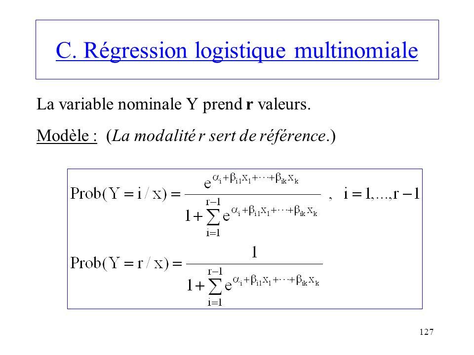 127 C. Régression logistique multinomiale La variable nominale Y prend r valeurs. Modèle : (La modalité r sert de référence.)