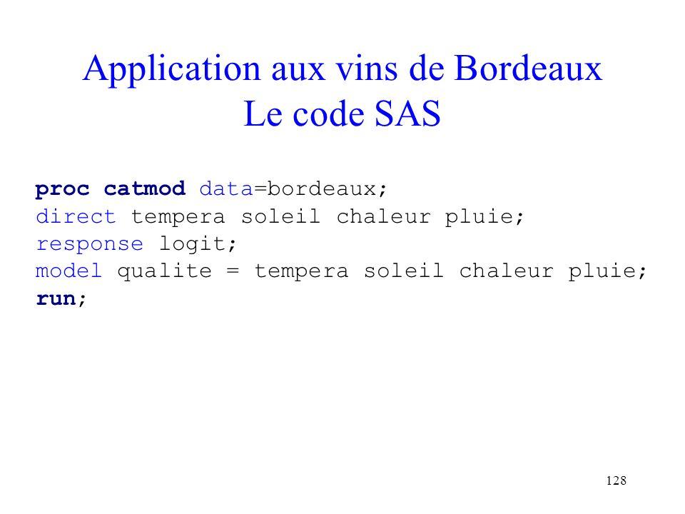 128 Application aux vins de Bordeaux Le code SAS proc catmod data=bordeaux; direct tempera soleil chaleur pluie; response logit; model qualite = tempe