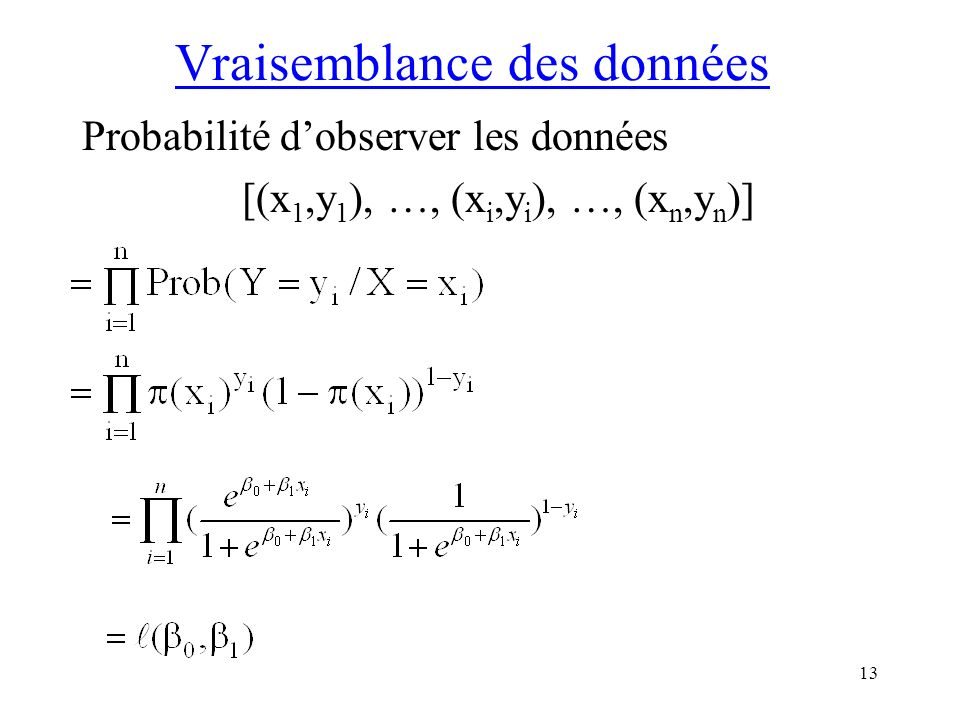 13 Vraisemblance des données Probabilité dobserver les données [(x 1,y 1 ), …, (x i,y i ), …, (x n,y n )]