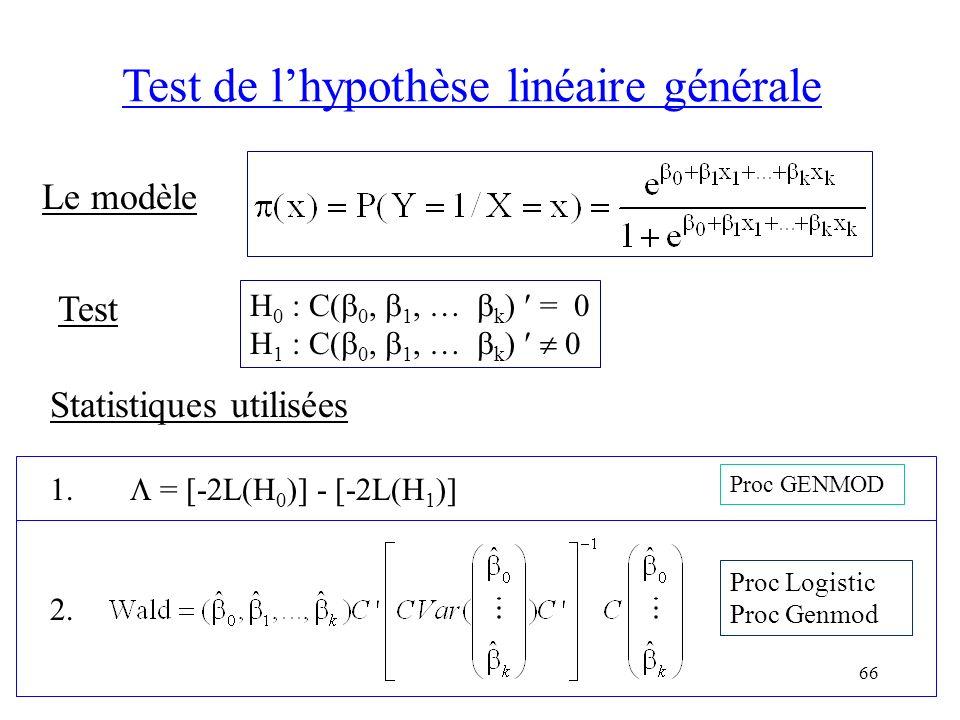 66 Test de lhypothèse linéaire générale Le modèle Test H 0 : C( 0, 1, … k ) = 0 H 1 : C( 0, 1, … k ) 0 Statistiques utilisées 1. = [-2L(H 0 )] - [-2L(