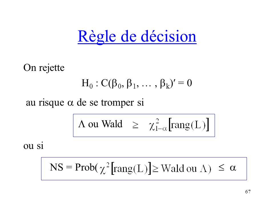 67 Règle de décision On rejette H 0 : C( 0, 1, …, k ) = 0 au risque de se tromper si ou Wald ou si NS = Prob(