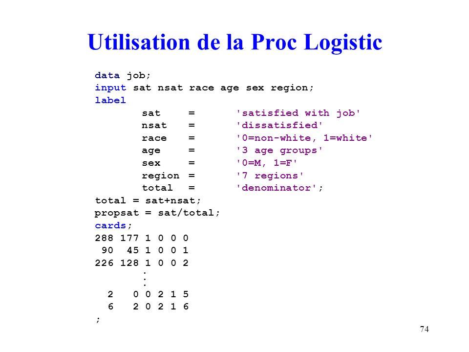 74 Utilisation de la Proc Logistic data job; input sat nsat race age sex region; label sat='satisfied with job' nsat='dissatisfied' race='0=non-white,