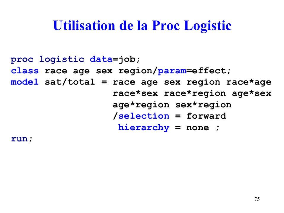75 Utilisation de la Proc Logistic proc logistic data=job; class race age sex region/param=effect; model sat/total = race age sex region race*age race