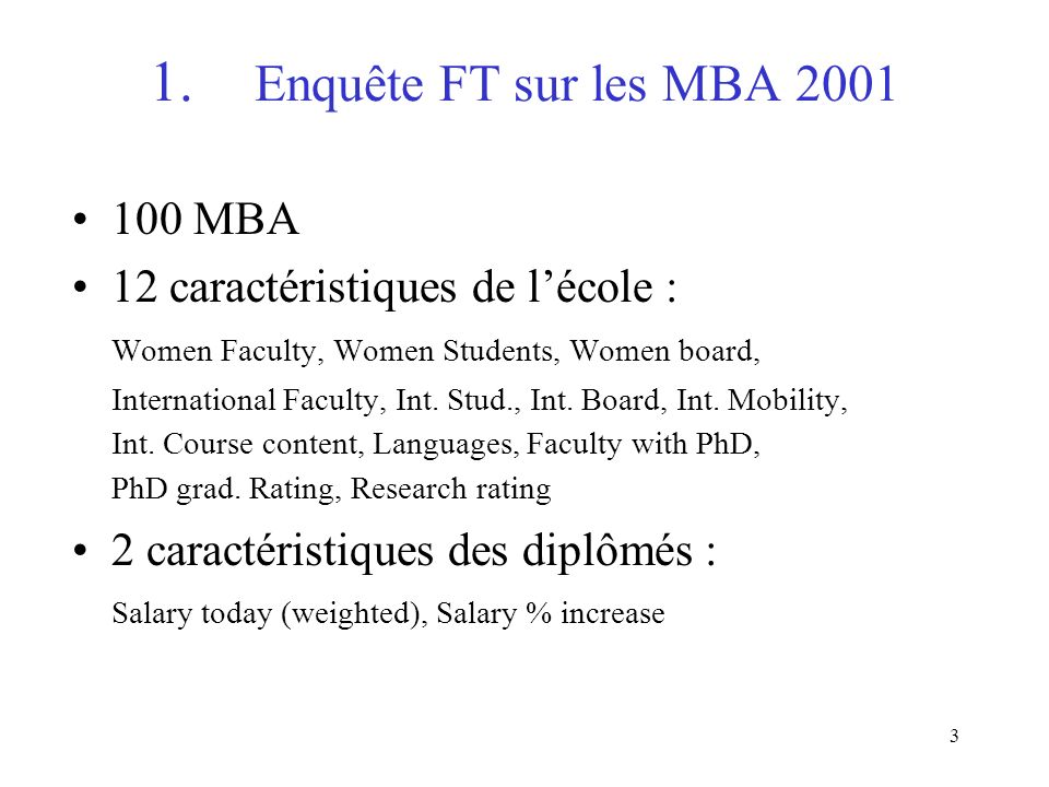 3 1. Enquête FT sur les MBA 2001 100 MBA 12 caractéristiques de lécole : Women Faculty, Women Students, Women board, International Faculty, Int. Stud.