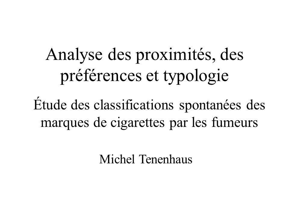 Analyse des proximités, des préférences et typologie Étude des classifications spontanées des marques de cigarettes par les fumeurs Michel Tenenhaus