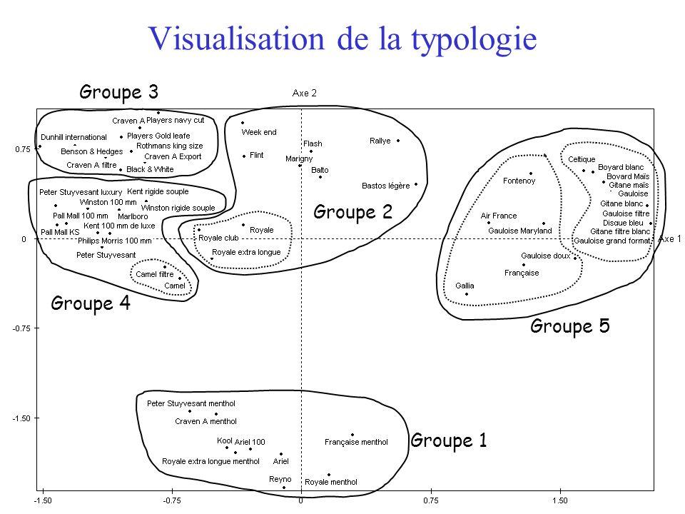 15 Visualisation de la typologie Groupe 1 Groupe 2 Groupe 3 Groupe 4 Groupe 5