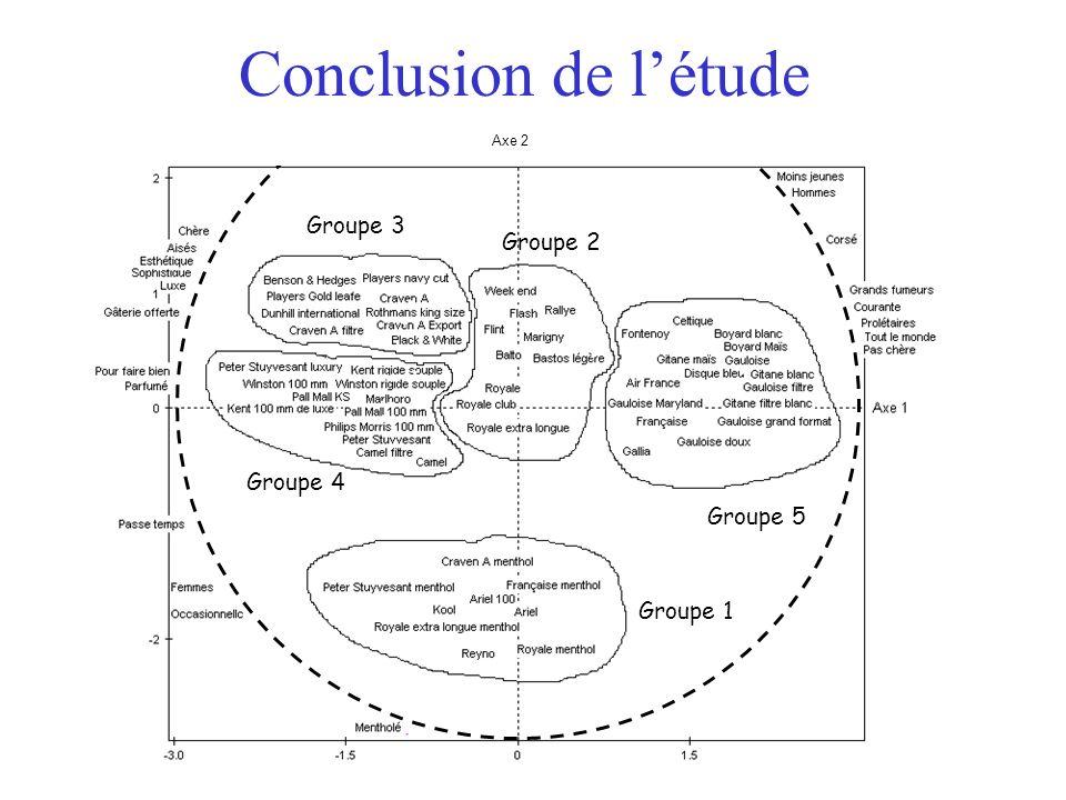 19 Axe 2 Groupe 1 Groupe 3 Groupe 4 Groupe 2 Groupe 5 Conclusion de létude