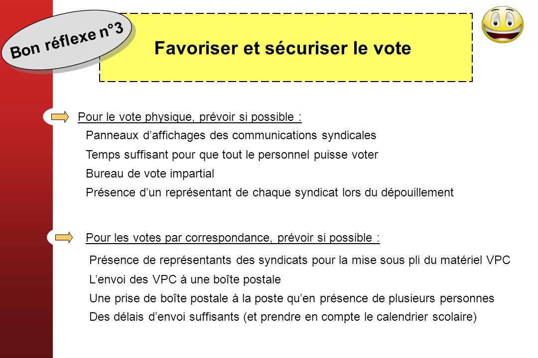 Favoriser et sécuriser le vote Panneaux daffichages des communications syndicales Temps suffisant pour que tout le personnel puisse voter Bureau de vo