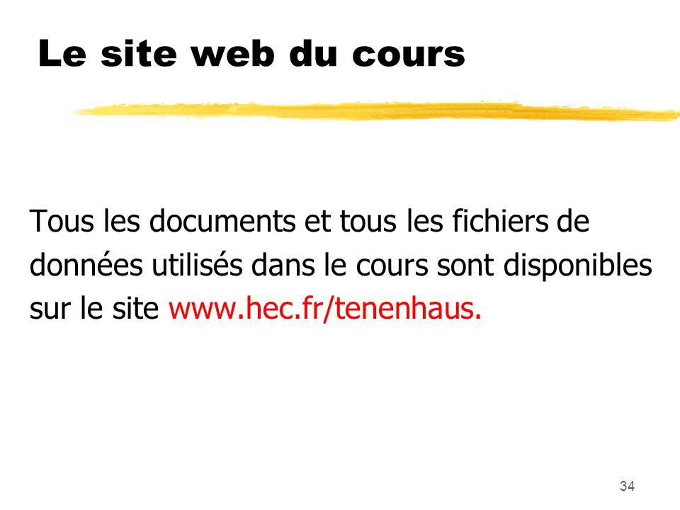34 Le site web du cours Tous les documents et tous les fichiers de données utilisés dans le cours sont disponibles sur le site www.hec.fr/tenenhaus.