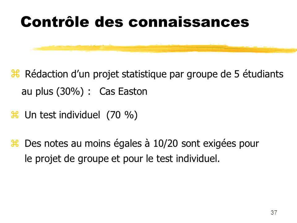 37 Contrôle des connaissances z Rédaction dun projet statistique par groupe de 5 étudiants au plus (30%) : Cas Easton z Un test individuel (70 %) z De