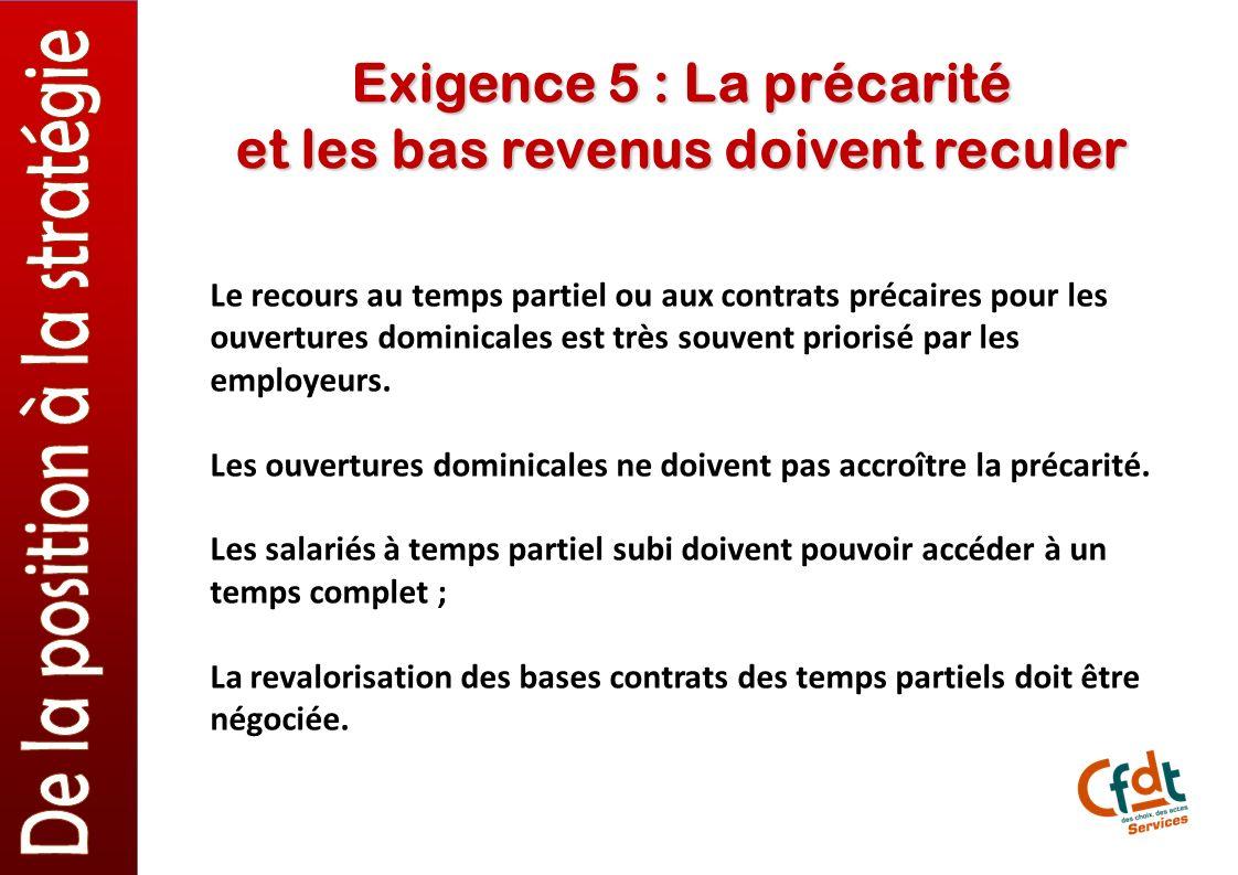 Exigence 5 : La précarité et les bas revenus doivent reculer Le recours au temps partiel ou aux contrats précaires pour les ouvertures dominicales est très souvent priorisé par les employeurs.