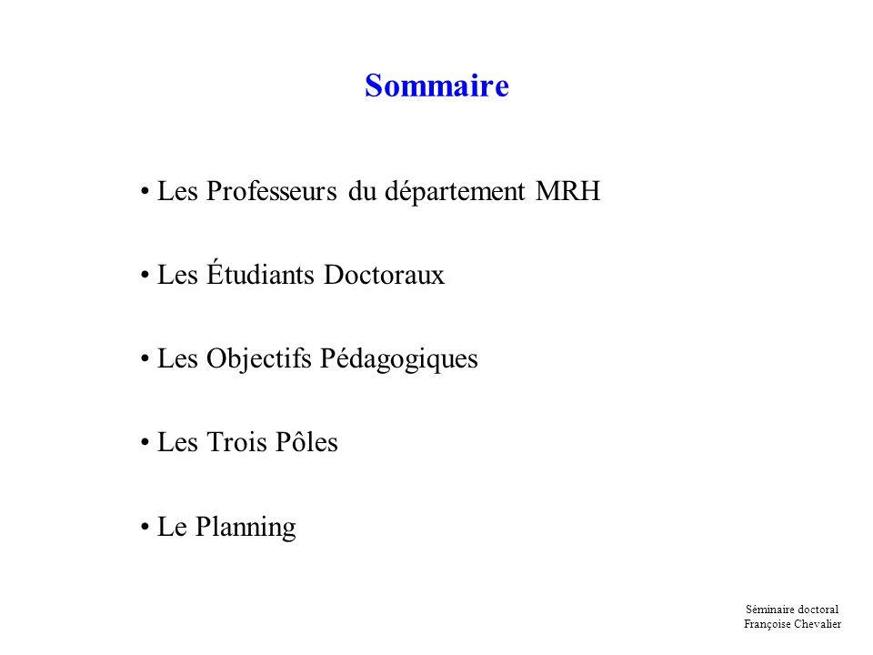 Sommaire Les Professeurs du département MRH Les Étudiants Doctoraux Les Objectifs Pédagogiques Les Trois Pôles Le Planning Séminaire doctoral François