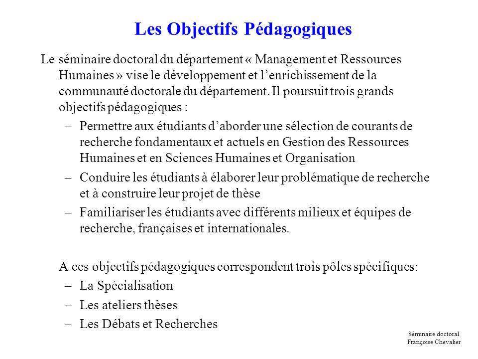 Les Objectifs Pédagogiques Le séminaire doctoral du département « Management et Ressources Humaines » vise le développement et lenrichissement de la c
