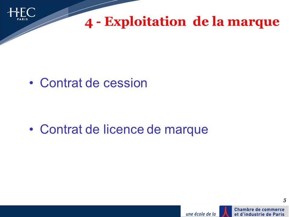 5 4 - Exploitation de la marque Contrat de cession Contrat de licence de marque