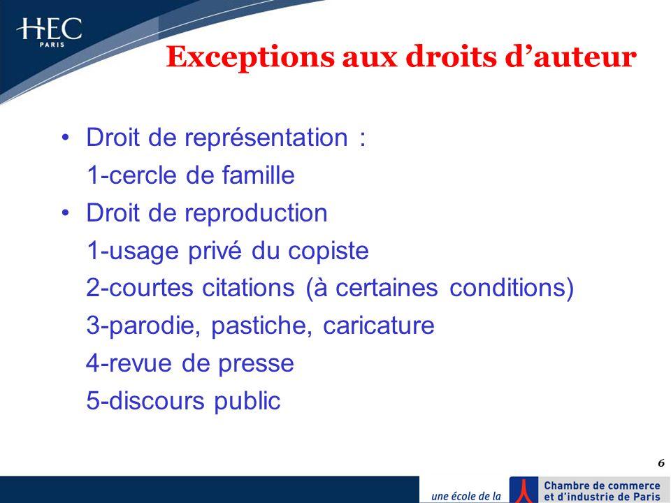 6 Exceptions aux droits dauteur Droit de représentation : 1-cercle de famille Droit de reproduction 1-usage privé du copiste 2-courtes citations (à ce