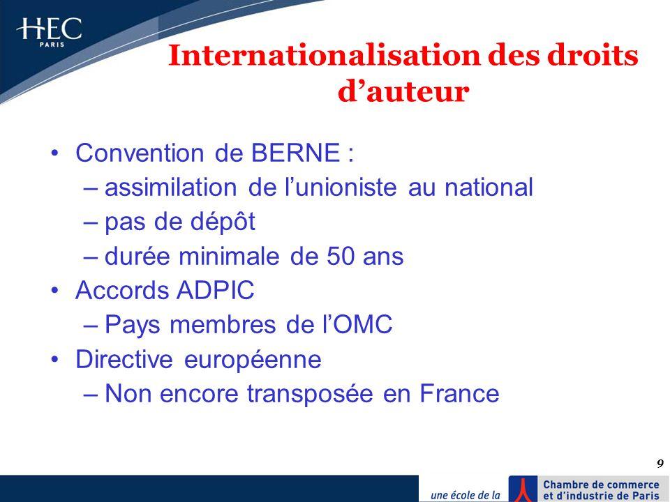 9 Internationalisation des droits dauteur Convention de BERNE : –assimilation de lunioniste au national –pas de dépôt –durée minimale de 50 ans Accord