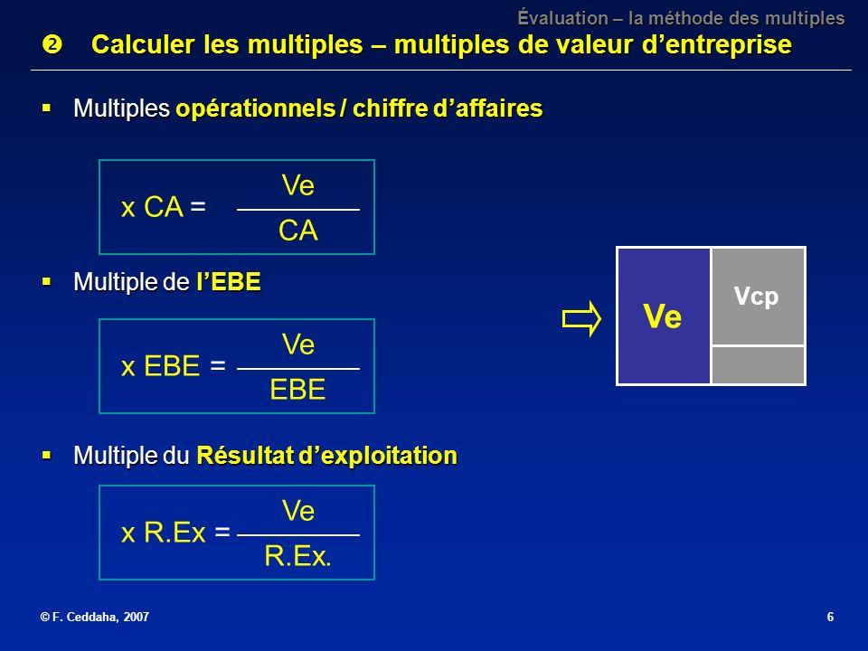 © F. Ceddaha, 20076 Évaluation – la méthode des multiples Calculer les multiples – multiples de valeur dentreprise Calculer les multiples – multiples