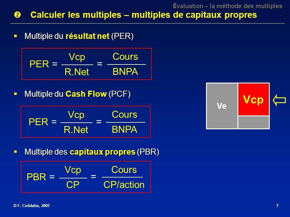 © F. Ceddaha, 20077 Évaluation – la méthode des multiples Calculer les multiples – multiples de capitaux propres Calculer les multiples – multiples de