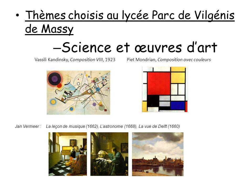 Thèmes choisis au lycée Parc de Vilgénis de Massy – Science et œuvres dart Vassili Kandinsky, Composition VIII, 1923 Piet Mondrian, Composition avec c