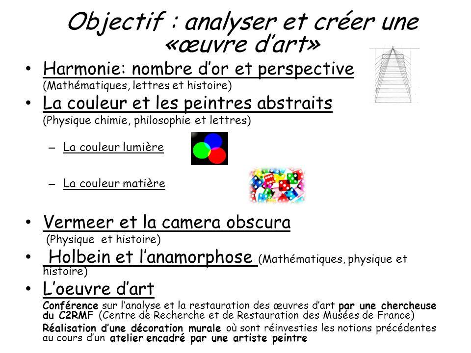 Objectif : analyser et créer une «œuvre dart» Harmonie: nombre dor et perspective (Mathématiques, lettres et histoire) La couleur et les peintres abst