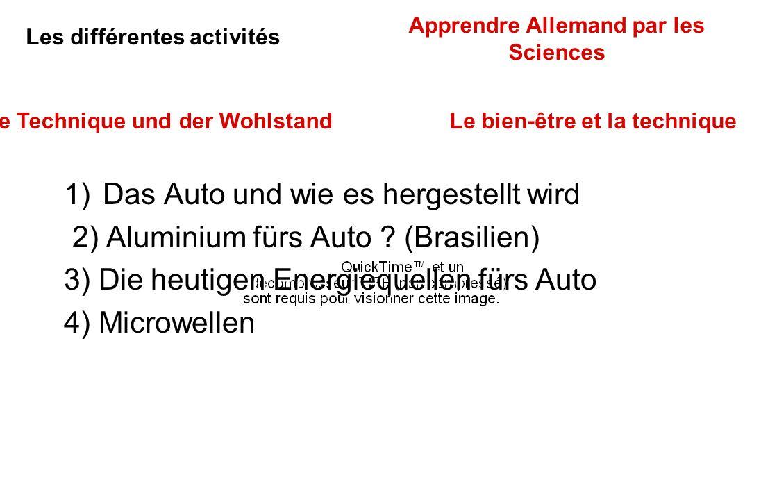 1)Das Auto und wie es hergestellt wird 2) Aluminium fürs Auto ? (Brasilien) 3) Die heutigen Energiequellen fürs Auto 4) Microwellen 1)Das Auto und wie