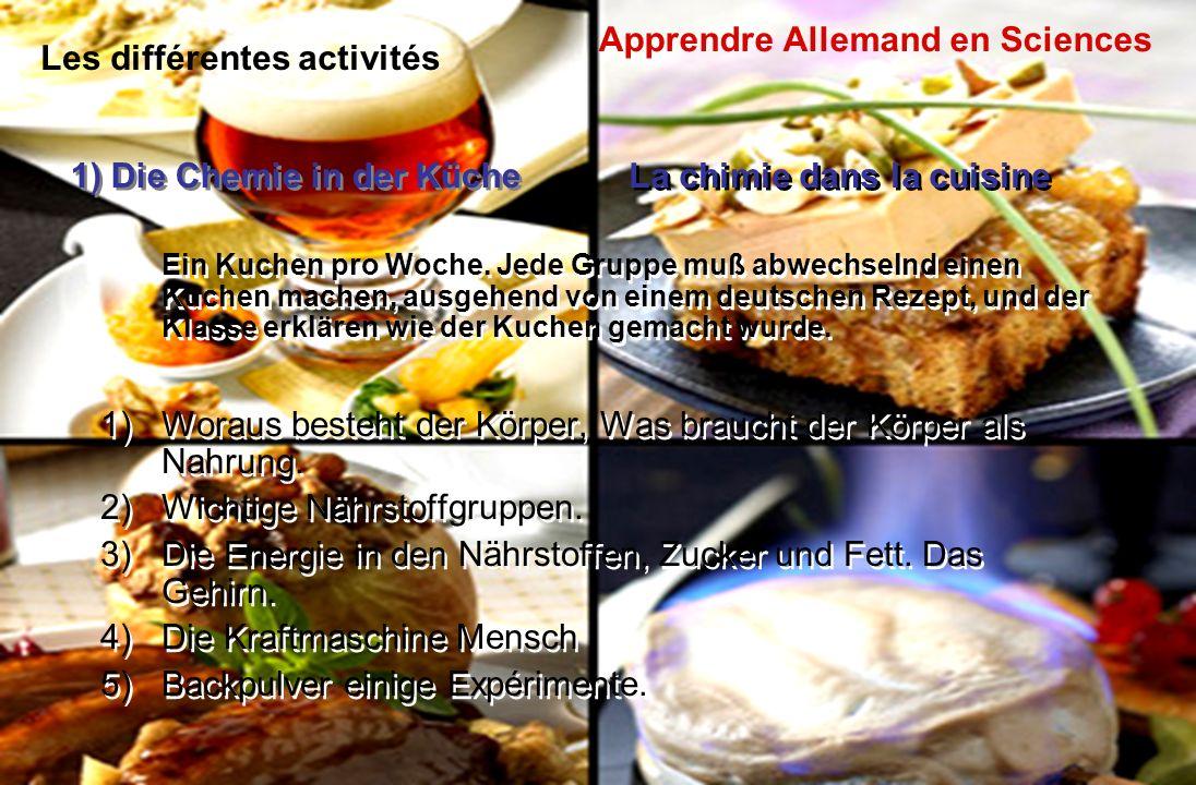Les différentes activités Ein Kuchen pro Woche. Jede Gruppe muß abwechselnd einen Kuchen machen, ausgehend von einem deutschen Rezept, und der Klasse