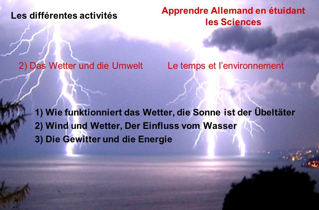 1) Wie funktionniert das Wetter, die Sonne ist der Übeltäter 2) Wind und Wetter, Der Einfluss vom Wasser 3) Die Gewitter und die Energie 2) Das Wetter