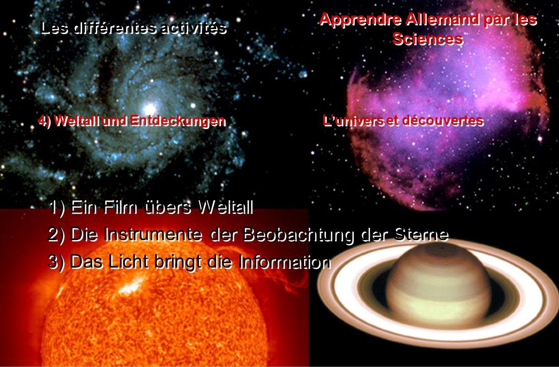 1) Ein Film übers Weltall 2) Die Instrumente der Beobachtung der Sterne 3) Das Licht bringt die Information 1) Ein Film übers Weltall 2) Die Instrumen