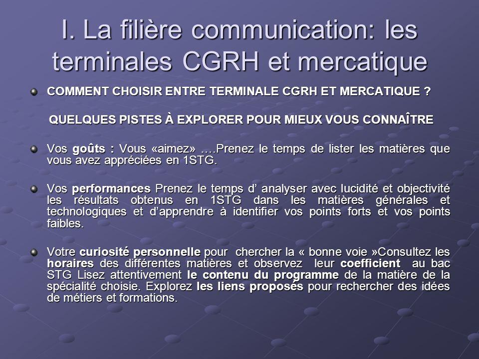 I. La filière communication: les terminales CGRH et mercatique COMMENT CHOISIR ENTRE TERMINALE CGRH ET MERCATIQUE ? QUELQUES PISTES À EXPLORER POUR MI