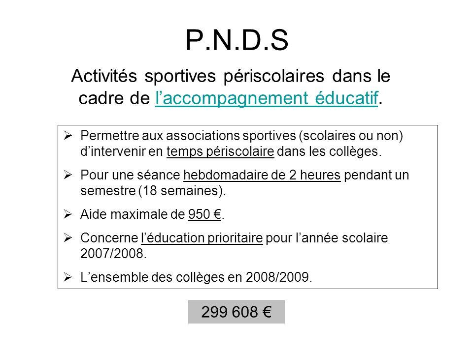 P.N.D.S Permettre aux associations sportives (scolaires ou non) dintervenir en temps périscolaire dans les collèges. Pour une séance hebdomadaire de 2