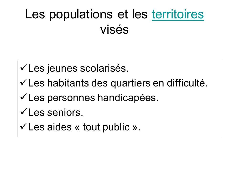 Les populations et les territoires visésterritoires Les jeunes scolarisés. Les habitants des quartiers en difficulté. Les personnes handicapées. Les s