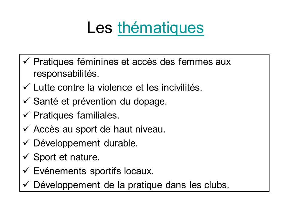 Les thématiquesthématiques Pratiques féminines et accès des femmes aux responsabilités. Lutte contre la violence et les incivilités. Santé et préventi