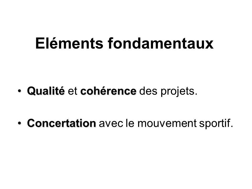 Eléments fondamentaux QualitécohérenceQualité et cohérence des projets. ConcertationConcertation avec le mouvement sportif.