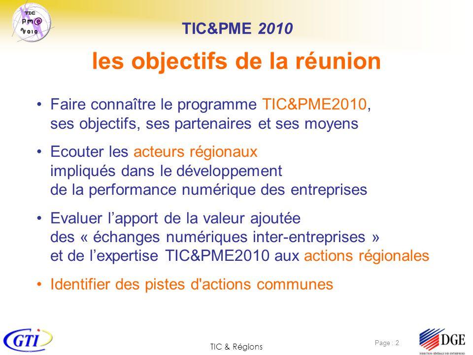 TIC & Régions Page : 3 Investir dans les TIC est un facteur-clef pour : Résultats de lenquête TIC&PME 2010 pour la journée de lancement du 7 novembre 2006 Présentation du plan TIC & PME 2010 La France, les TIC et la croissance Pas suffisamment dinvestissement dans les entreprises