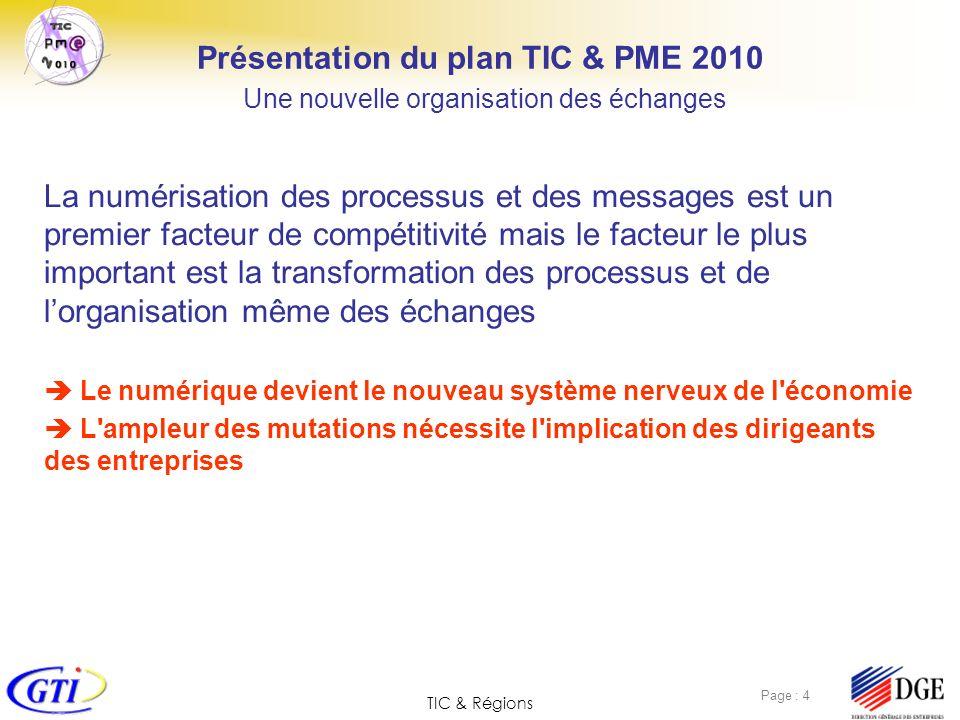 TIC & Régions Page : 5 Présentation du plan TIC & PME 2010 Des processus numériques pour tous les métiers La numérisation des processus et des messages est un premier facteur de compétitivité mais le facteur le plus important est la transformation de processus et de lorganisation même des échanges.