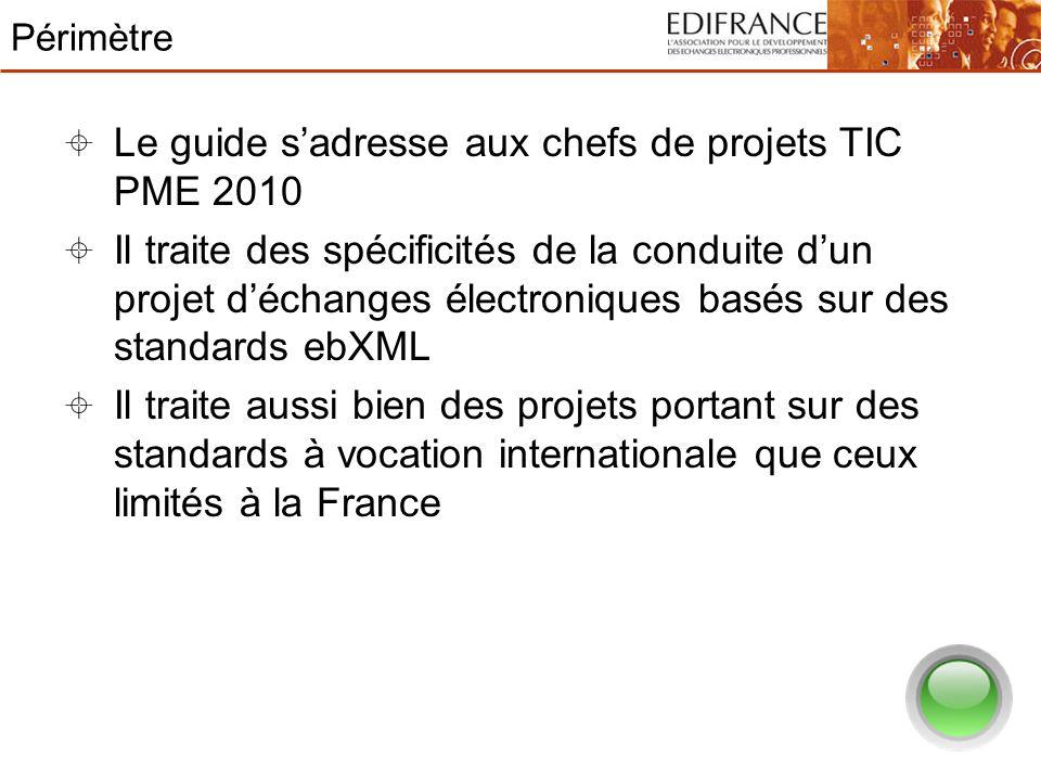 Périmètre Le guide sadresse aux chefs de projets TIC PME 2010 Il traite des spécificités de la conduite dun projet déchanges électroniques basés sur d