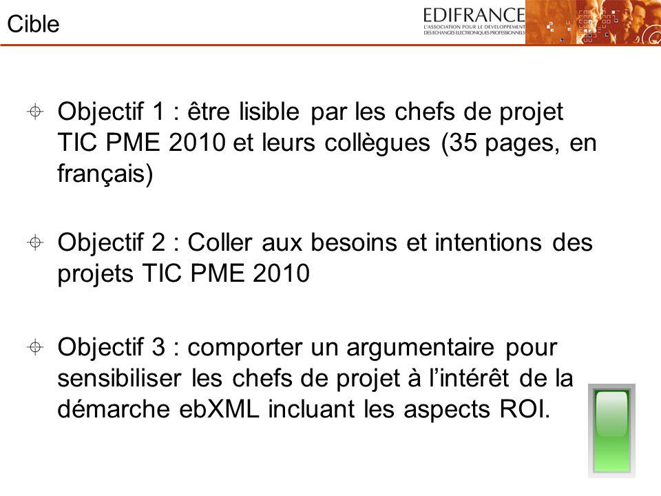 Cible Objectif 1 : être lisible par les chefs de projet TIC PME 2010 et leurs collègues (35 pages, en français) Objectif 2 : Coller aux besoins et int