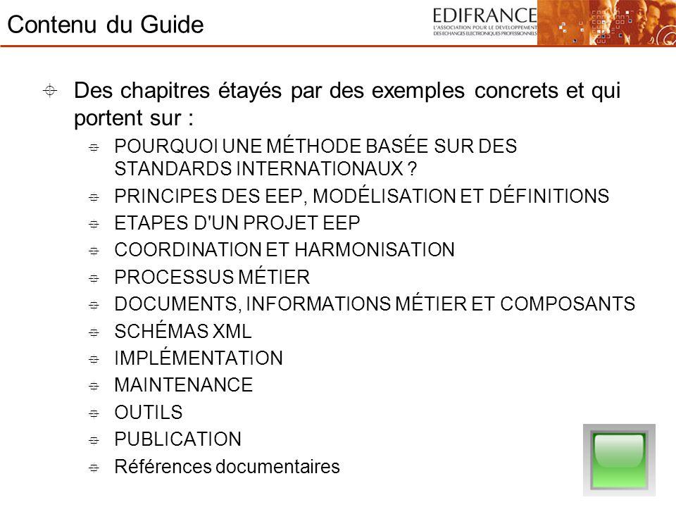 Contenu du Guide Des chapitres étayés par des exemples concrets et qui portent sur : POURQUOI UNE MÉTHODE BASÉE SUR DES STANDARDS INTERNATIONAUX ? PRI