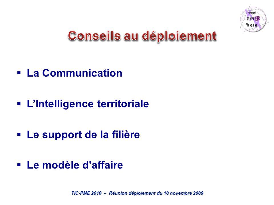 TIC-PME 2010 – Réunion déploiement du 10 novembre 2009 La Communication LIntelligence territoriale Le support de la filière Le modèle d affaire