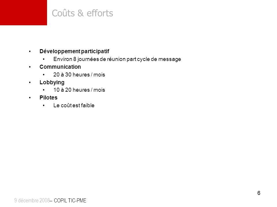 Coûts & efforts Développement participatif Environ 8 journées de réunion part cycle de message Communication 20 à 30 heures / mois Lobbying 10 à 20 he