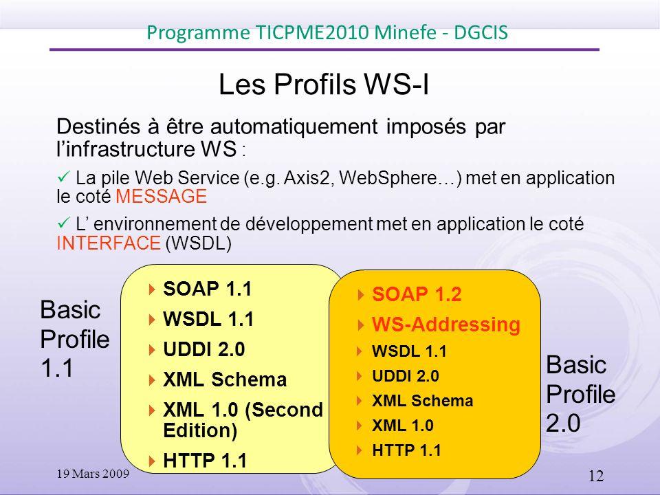SOAP 1.1 WSDL 1.1 UDDI 2.0 XML Schema XML 1.0 (Second Edition) HTTP 1.1 WS-I Profiles Destinés à être automatiquement imposés par linfrastructure WS :