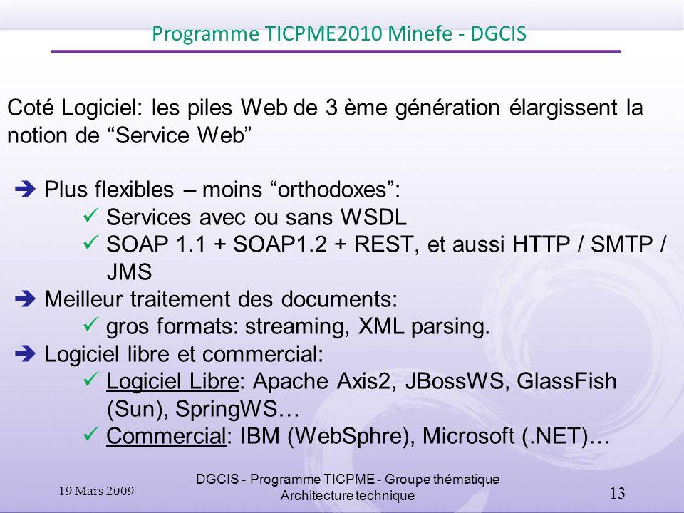 Coté Logiciel: les piles Web de 3 ème génération élargissent la notion de Service Web Plus flexibles – moins orthodoxes: Services avec ou sans WSDL SO